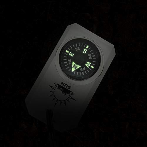 Sun Company Survival Compass 4 MiniComp - Zipperpull Mini Compass with Split Ring | Easy-to-Read Compass for Jacket, Parka, or Pack