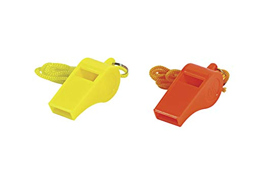 "SE  3 SE Orange Plastic Whistles with 14"" Lanyards (100 PC.) - WH3-B-100"