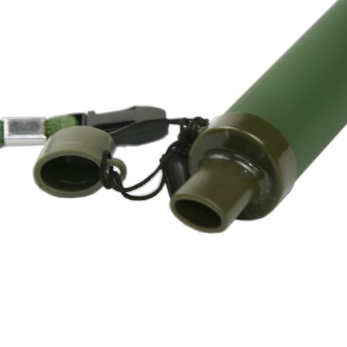 GESS  3 GESS Army Grade Emergency Water Straw with 15 Microns for 99.999% Purification Army Green