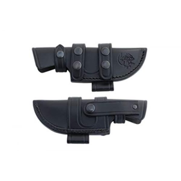 Cuchillos de Aventura J&V Fixed Blade Survival Knife 3 Survival Knife CHACAL BUSHCRAFT J&V with black Micarta handle, Hunting Knife with 4.13 inches blade and black multi-position leather sheath, Camping Tool for Fishing, Hunting, Sport Activity
