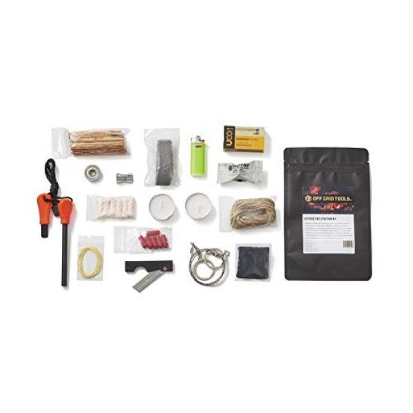 Stanford Outdoor Supply Survival Fire Starter 5 Fire B.O.S.S.Off Grid Tools Survival Fire Starting Kit - Bug Out Bag Ready Fire Kit Includes 33 Fire Starting Items.