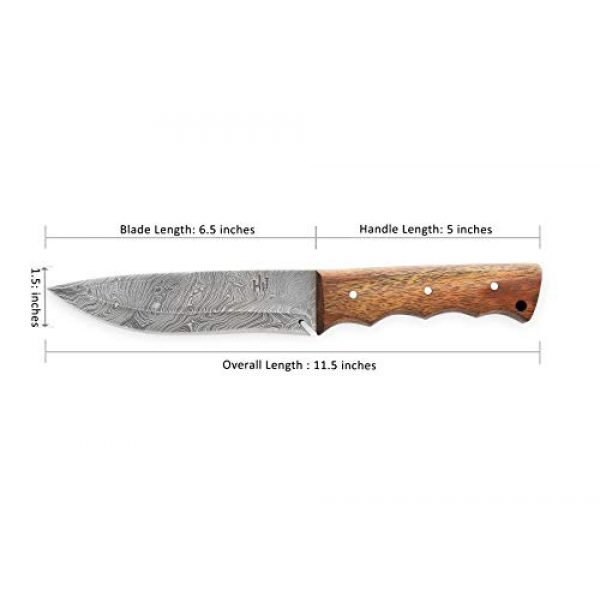Hobby Hut Fixed Blade Survival Knife 3 Hobby Hut HH-401, 11.5 inches Bushcraft Damascus Steel Knife|Hunting Knife, Walnut Wood Handle|Leather Sheath|Full Tang| Outdoor Razor Sharp Blade