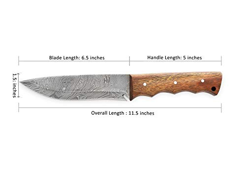 Walnut Wood Handle|Leather Sheath|Full Tang| Outdoor Razor Sharp Blade