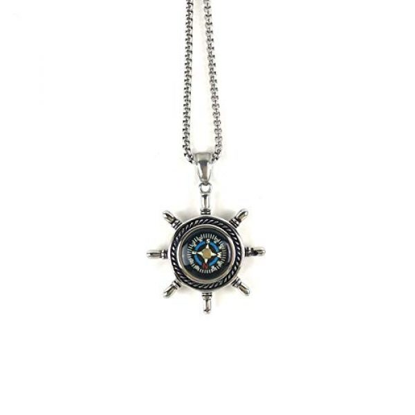 DETUCK Survival Compass 4 DETUCK(TM Rudder Compass Necklace Silver | Compass Gifts for Men Women Dad Mom | Compass Birthday Gift Men Boxes Wrap | Navigation Compass Camping Gift Hiking Gift