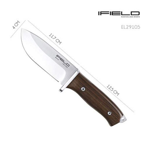 iFIELD Fixed Blade Survival Knife 6 iFIELD Survival Knife Workout, 4.6 inch Satin MOVA Blade, with Leather Sheath, Camping Tool for Fishing, Hunting, Sport Activity