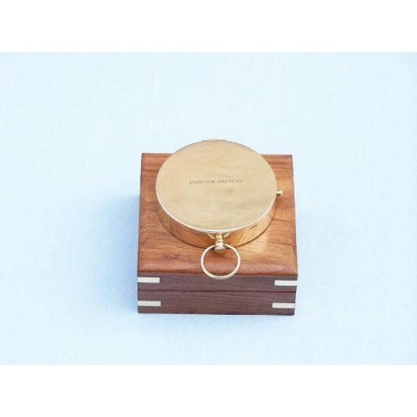 "Hampton Nautical Survival Compass 2 Hampton Nautical Solid Brass Gentlemen's Compass with Rosewood Box, 4"", Brass"