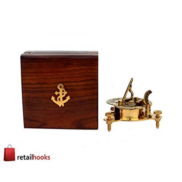 """RETAILHOOKS Survival Compass 4 RETAILHOOKS 3"""" Sundial Compass in Solid Brass with Rosewood Box for Hiking, Camping, Boating and Backpacking - Nautical Navigational Device"""