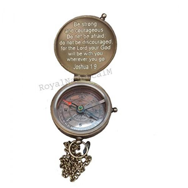 Royalmart Survival Compass 5 Royalmart Antique Compass Be Strong and Courageous Verse with Joshua Cross Engraved on Working Compass, Confirmation Gift Ideas, Graduation Gifts, Faith Gift, Vintage Gift