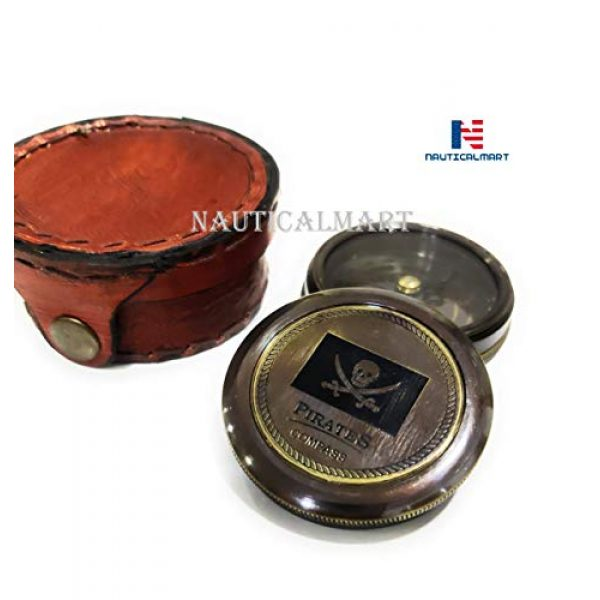 """NauticalMart Survival Compass 4 Brass Compass Pirates of Caribbean Jack Sparrow 2"""" Pocket Antique Gift with Beautiful Leather Case"""