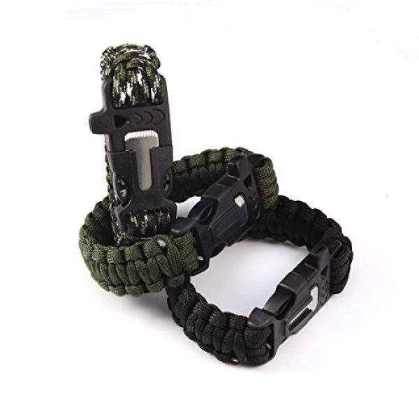 Andux Survival Paracord Bracelet 6 Andux Outdoor Emergency Paracord Survival Bracelet Flint Fire Starter Rope Bracelet 1 Pack YJSH-01