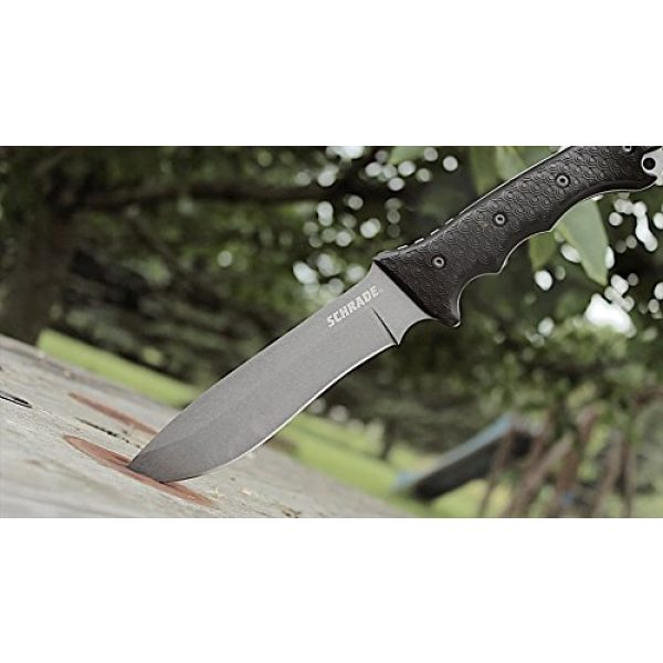 Schrade Fixed Blade Survival Knife 2 Schrade SCHF9 12.1in High Carbon Steel Fixed Blade Knife with 6.4in Kukri Point Blade and TPE Handle for Outdoor Survival, Camping and Bushcraft