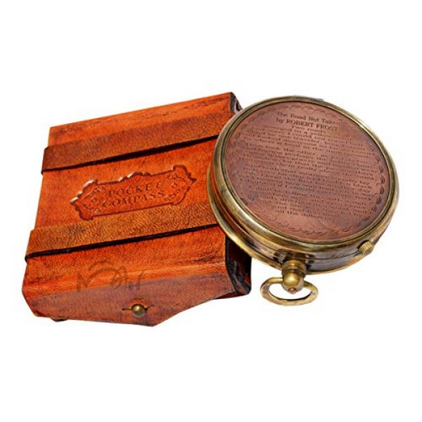 MAH Survival Compass 2 MAH ''Robert Frost Poem'' Engraved Antiquated Finish Brass Compass with Case. C-3241