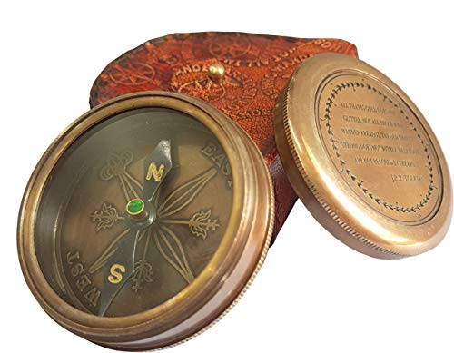 Brass Nautical  2 Brass Nautical - Brass Compass with Leather Case J.R.R. Tolkien Directional Magnetic LOTR Compass for Graduation Day Navigation/Pocket Compass for Camping