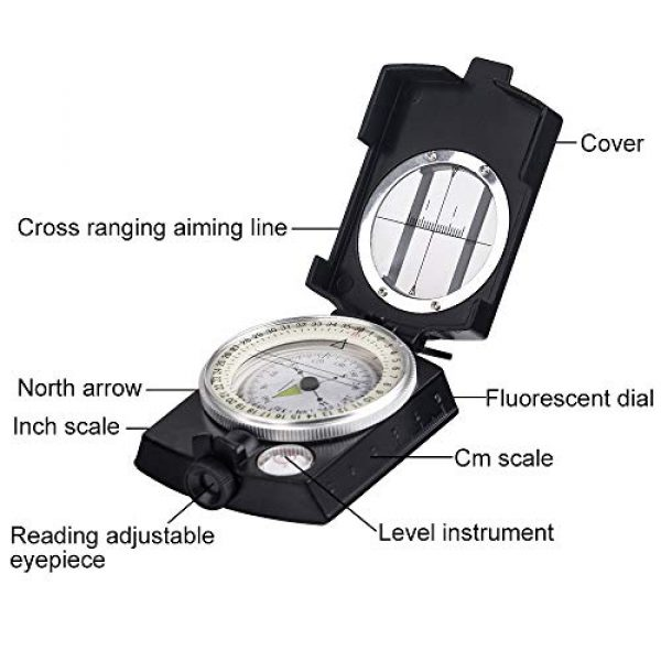COSTIN Survival Compass 4 COSTIN Multifunctional Compass, Metal Military Waterproof High Accuracy Compass with Map Measurer, Distance Calculator,Bubble Level Perfect for Outdoor Activities, Matte Black