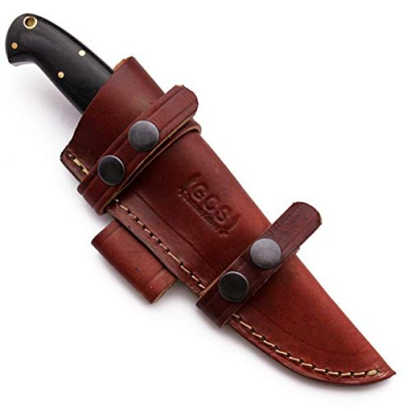 GCS Knives Fixed Blade Survival Knife 5 GCS Custom Handmade Black G10 Handle D2 Tool Steel Knife & Buffalo Hide Sheath GCS201