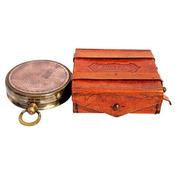 MAH Survival Compass 6 MAH ''Robert Frost Poem'' Engraved Antiquated Finish Brass Compass with Case. C-3240