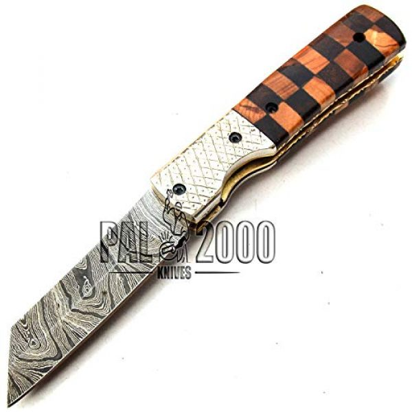 PAL 2000 KNIVES Folding Survival Knife 7 PAL 2000 KNIVES Handmade Damascus Steel Folding Clip Knife with Sheath 8 Inches Rose Wood and Olive Wood Handle New Pattern Blade Liner Lock 9609