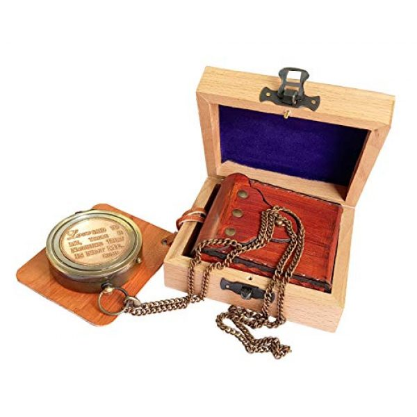 Brass Nautical Survival Compass 5 Brass Nautical - Beautiful Compass with Leather Carry Pouch and Gift Box Birthday, Anniversary, Valentine, Love, Romantic Personalized Message for Boyfriend, Husband, Girlfriend, Wife & Any Loved Ones