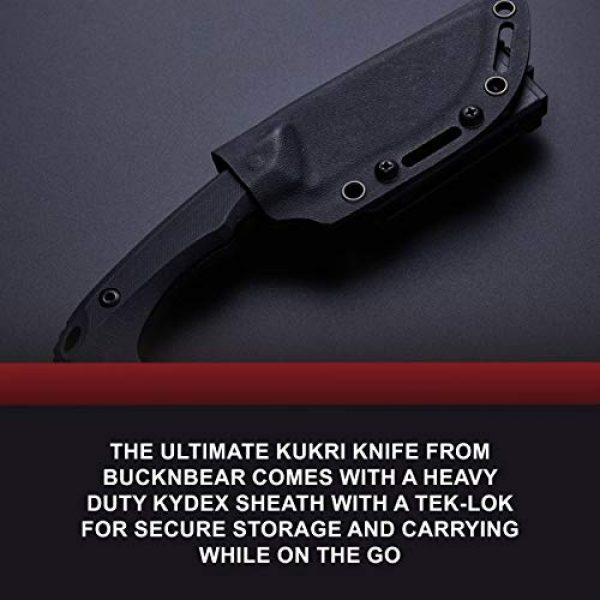 BUCKNBEAR KNIVES Fixed Blade Survival Knife 6 BucknBear Custom Handmade D2 Steel Fixed Blade Kukri Tactical Survival Knife (G10 Handle)