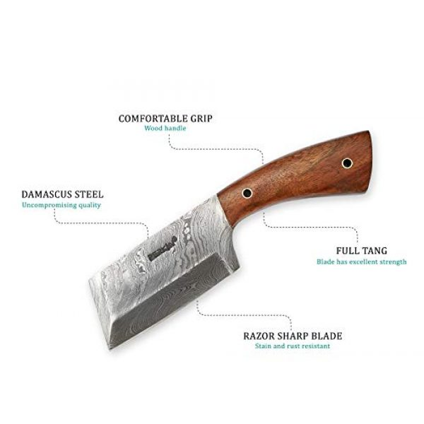 Perkin Fixed Blade Survival Knife 3 Damascus Steel Hunting Knife Damascus Chef Knife with Sheath
