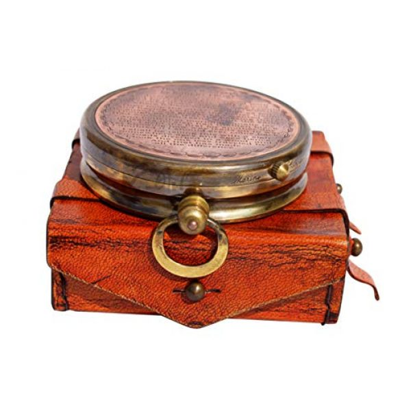 MAH Survival Compass 7 MAH ''Robert Frost Poem'' Engraved Antiquated Finish Brass Compass with Case. C-3240