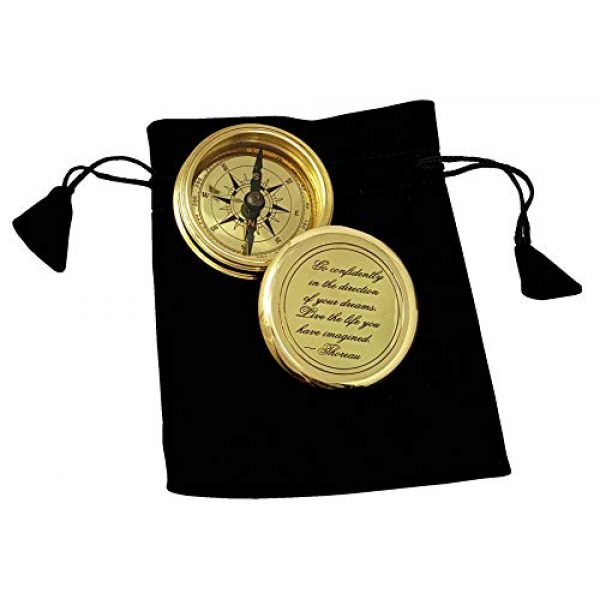 Brass Nautical Survival Compass 2 Brass Nautical - Go Confidently in The Direction of Your Dreams Thoreau's Quote Compass W/Case