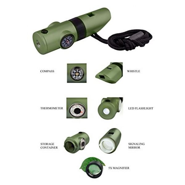 SE Survival Whistle 4 SE 7-IN-1 Green Survival Whistle - CCH7-1G