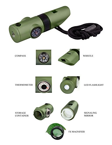 SE  4 SE 7-IN-1 Green Survival Whistle - CCH7-1G