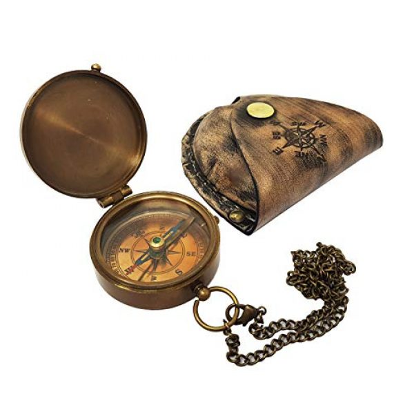Brass Nautical Survival Compass 5 Brass Nautical - Antique Brass Compass Nautical Pocket Backpacking Compass Leather Case Vintage Camping Hiking Direction Marine Graduation Confirmation Day Engravable for Men Quality Travel