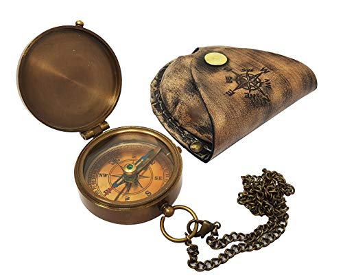 Brass Nautical  5 Brass Nautical - Antique Brass Compass Nautical Pocket Backpacking Compass Leather Case Vintage Camping Hiking Direction Marine Graduation Confirmation Day Engravable for Men Quality Travel