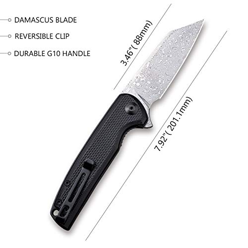 Liner Lock Everyday Carry Folding Knife 3.46 Dependable Knife Blade with Solid G-10 Handles