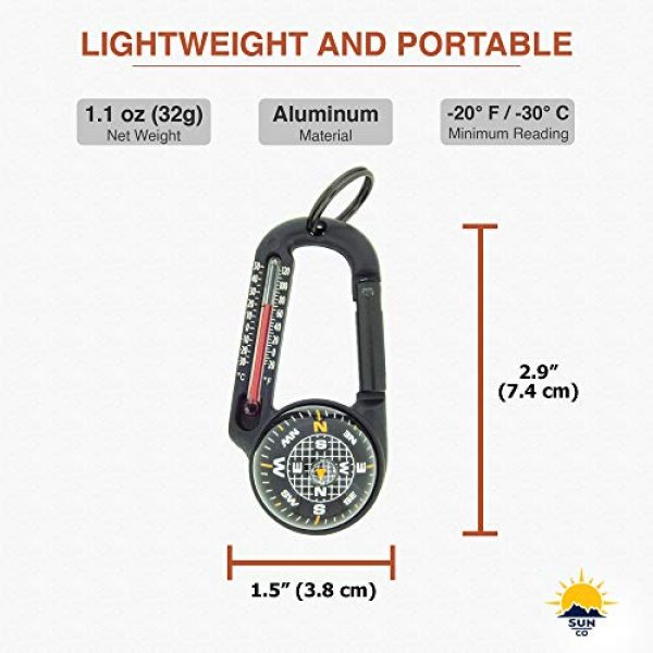 Sun Company Survival Compass 6 Sun Company TempaComp - Ball Compass and Thermometer Carabiner   Hiking, Backpacking, and Camping Accessory   Clip On to Pack, Parka, or Jacket