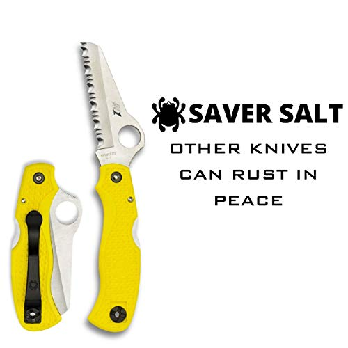 "Spyderco  2 Spyderco Saver Salt Folding Knife with 3.09"" H-1 Corrosion-Resistant Stainless Steel Blade and Lightweight Yellow FRN Handle - SpyderEdge -C118SYL"