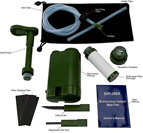 Barley Dean's  2 Barley Dean's Hiking Water Filter Pump. Camping Backpacking Travel Emergency Preparedness. Portable and Multi-Functional and Great for Your Survival Kit. Bonus Multi-Tool Included