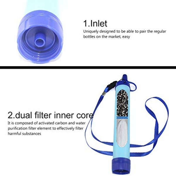 POWLAB Survival Water Filter 5 POWLAB Outdoor Water Filter, Personal Water Filtration Straw Emergency Survival Gear, Multifunction Water Purifier for Camping Hiking Climbing Backpacking