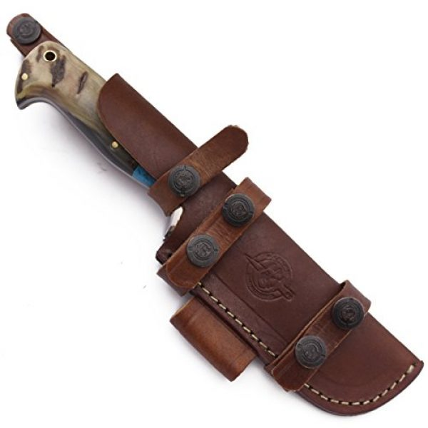 WolfKlinge Fixed Blade Survival Knife 3 WolfKlinge DCX17-72 Handmade Damascus Steel Hunter, Sheep Horn Handle, with Cowhide Leather Sheath Be The First to Review This Item
