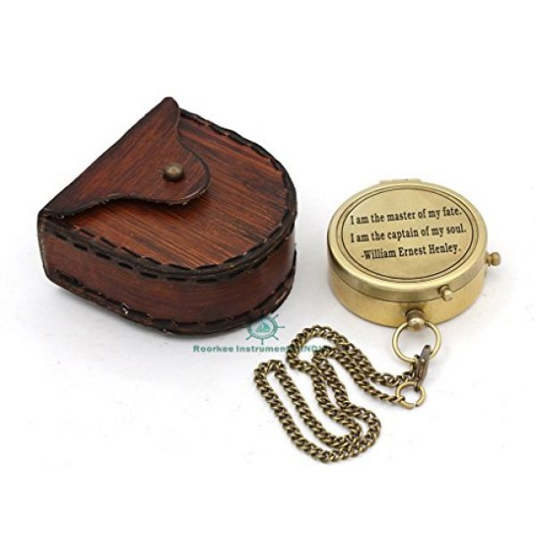 Roorkee Instruments India Survival Compass 3 Roorkee Instruments India Directional Compass William Ernest Heanly Quote Engraved with Stamped Leather Case for Camping, Hiking, Touring