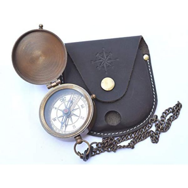 NEOVIVID Survival Compass 3 NEOVIVID Engravable Compass, Pocket Compass, Brass Compass with Leather Carry Case, Pirates Compass, Gift Compass, Camping Compass