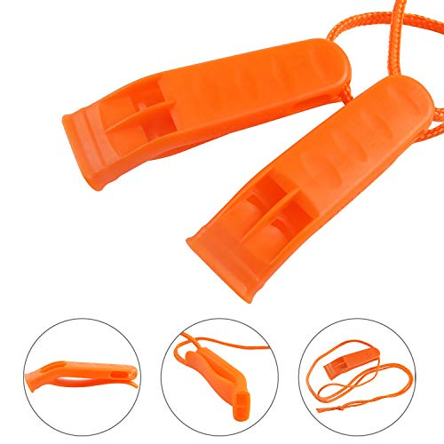 Augsun  2 Augsun 40 Pcs Emergency Safety Whistle Plastic Whistles Set with Lanyard