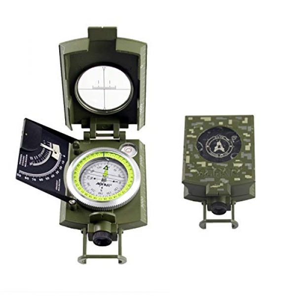 AOFAR Survival Compass 2 AOFAR AF-4074 Military Camo Compass for Hiking,Lensatic Sighting Waterproof,Durable,Inclinometer for Camping,Boy Scount,Geology Activities Boating