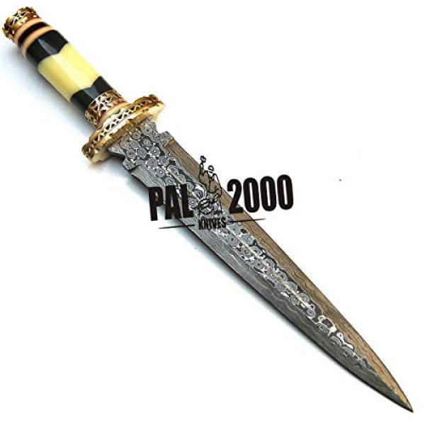 PAL 2000 KNIVES Fixed Blade Survival Knife 5 PAL 2000 KNIVES Handmade Damascus Hunting Knife 16 Inches Buffalo Horn and Camel Bone Handle with Sheath 9532