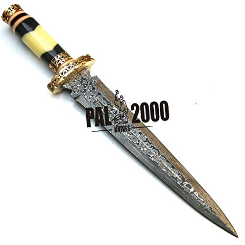 PAL 2000 KNIVES  5 PAL 2000 KNIVES Handmade Damascus Hunting Knife 16 Inches Buffalo Horn and Camel Bone Handle with Sheath 9532
