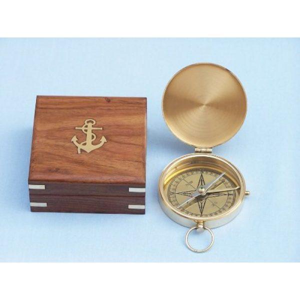 "Hampton Nautical Survival Compass 3 Hampton Nautical Solid Brass Gentlemen's Compass with Rosewood Box, 4"", Brass"