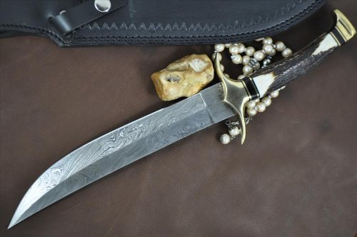 Perkin Knives  3 Handmade Damascus Steel Hunting Knife - Beautiful Bowie Knife - Amazing Value