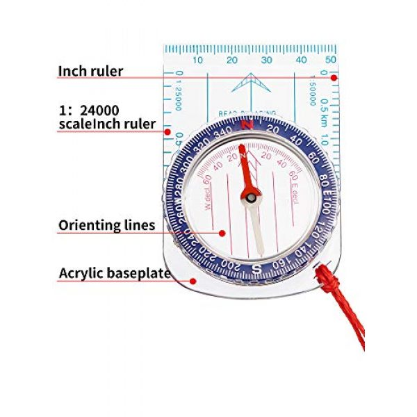 Gejoy Survival Compass 3 Gejoy Boy Scout Compass Orienteering Compass Map Compass for Hiking Fishing Camping Navigation