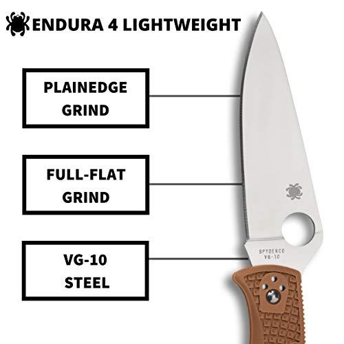 "Spyderco  3 Spyderco Endura 4 Lightweight Signature Folder Knife with 3.80"" VG-10 Steel Blade and Brown FRN Handle - PlainEdge Grind - C10FPBN"
