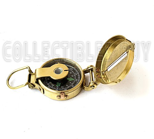 collectiblesBuy  2 collectiblesBuy Vintage Old Style Military Compass Nautical Pocket Shiny Brass Navigational Instrument
