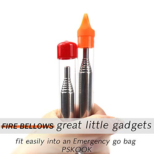 PSKOOK  3 PSKOOK 2 Size Pack Pocket-Size Fire Bellows Collapsible Stainless Steel Fire Blower Pipe Builds Campfire Tool with Poly Carrying Bag (2 Size)