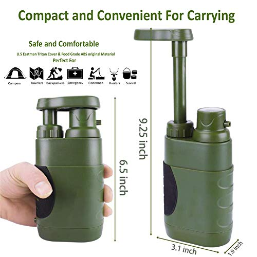 DLY  2 DLY Portable Water Filter Outdoor Water Purifier Camping - 0.01 Micron Emergency Backpacking Water Filter for Hiking with 4-Stage Filter Pump