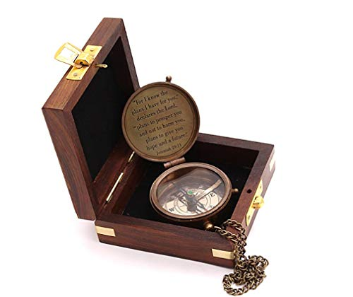 Roorkee Instruments India Survival Compass 3 Roorkee Instruments India for i Know The Planes I Have for You Quote Engraved Compass with Wood Box,Jeremiah 29 11, Baptism Gifts, Gift for Him, Birthday, Fathers Day, Graduation Gift, Gift for Son